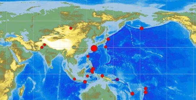 Уберегов Японии произошло мощное землетрясение магнитудой 6,7