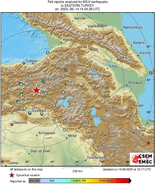 Ввосточной Турции произошло землетрясение магнитудой 5,9