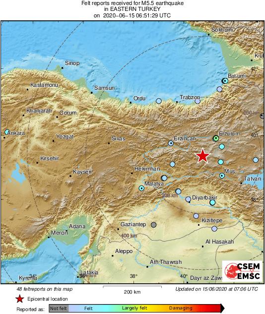 Ввосточной Турции произошло повторное землетрясение, есть разрушения ипострадавшие