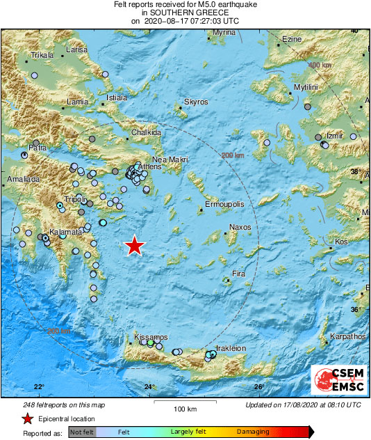 ВГреции произошло землетрясение магнитудой 5,0