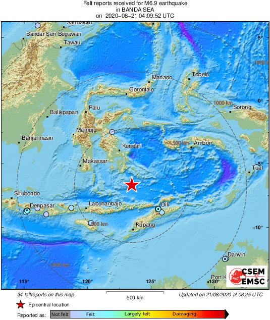 ВИндонезии произошло землетрясение магнитудой 6,9