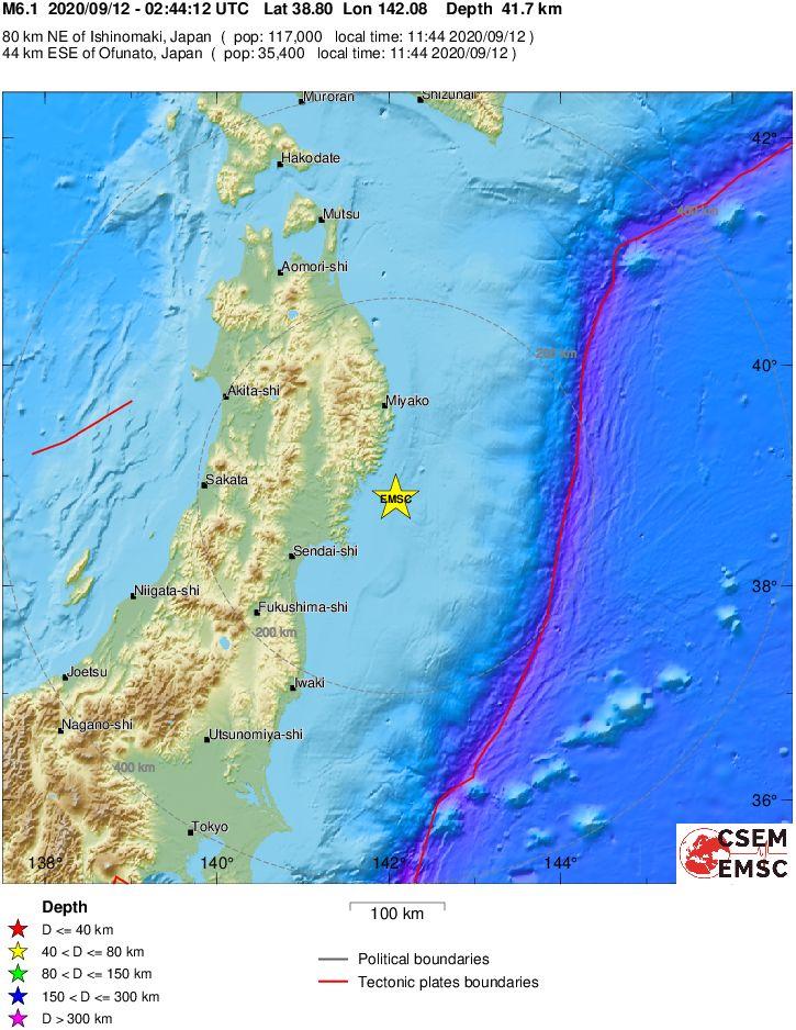 Увосточных берегов Японии произошло землетрясение магнитудой 6,1
