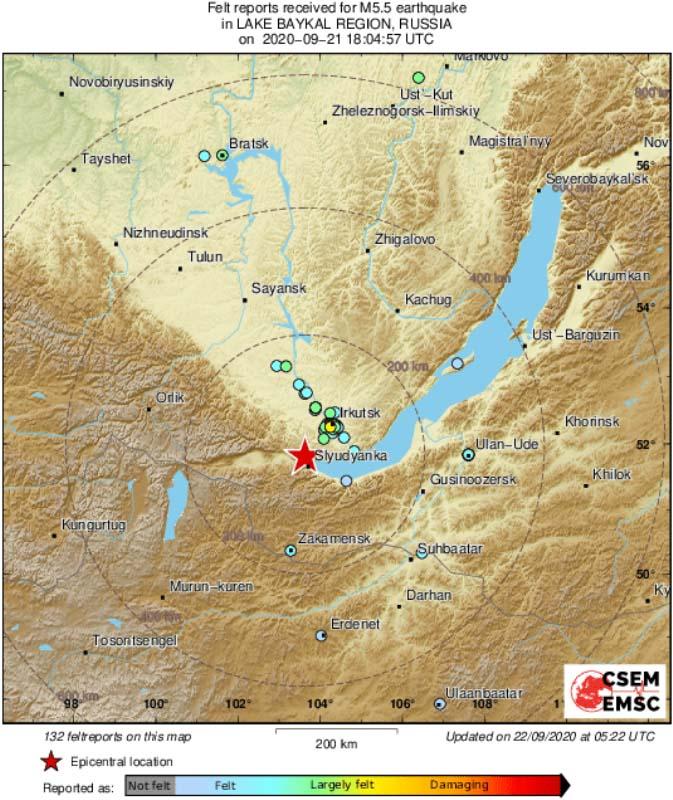 Землетрясение магнитудой 5,5 произошло врайоне озера Байкал