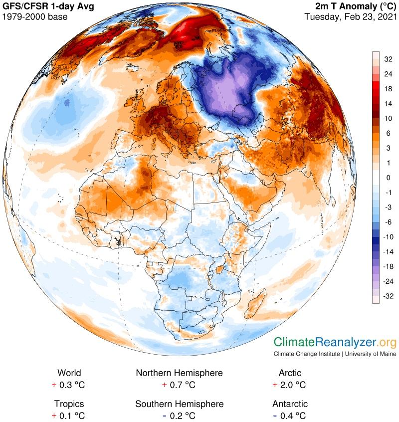 Майское тепло вЕвропе ижестокие холода вРоссии