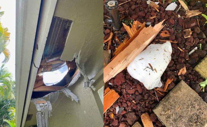 Большой кусок льда снеба пробил крышу дома воФлориде